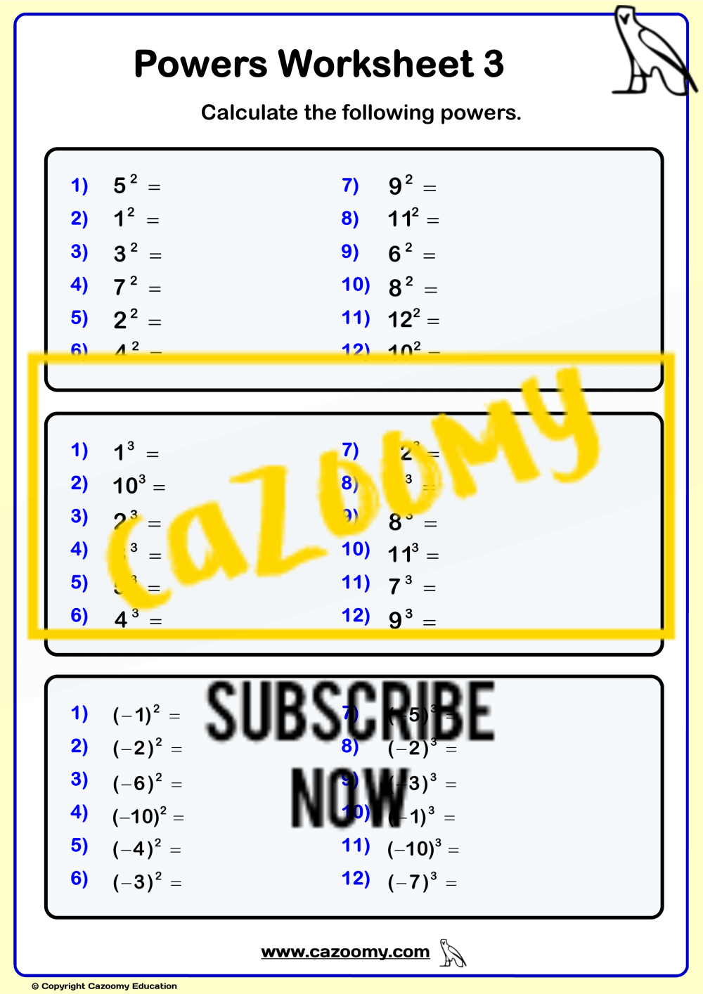 medium resolution of Powers Roots Worksheets - New \u0026 Engaging   Cazoomy