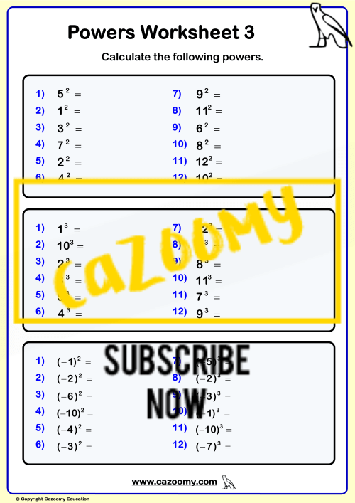 small resolution of Powers Roots Worksheets - New \u0026 Engaging   Cazoomy