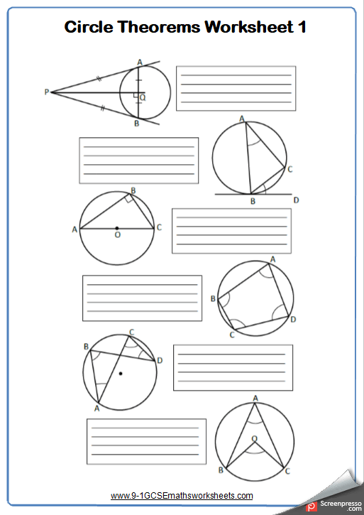 Circle Theorems Worksheets