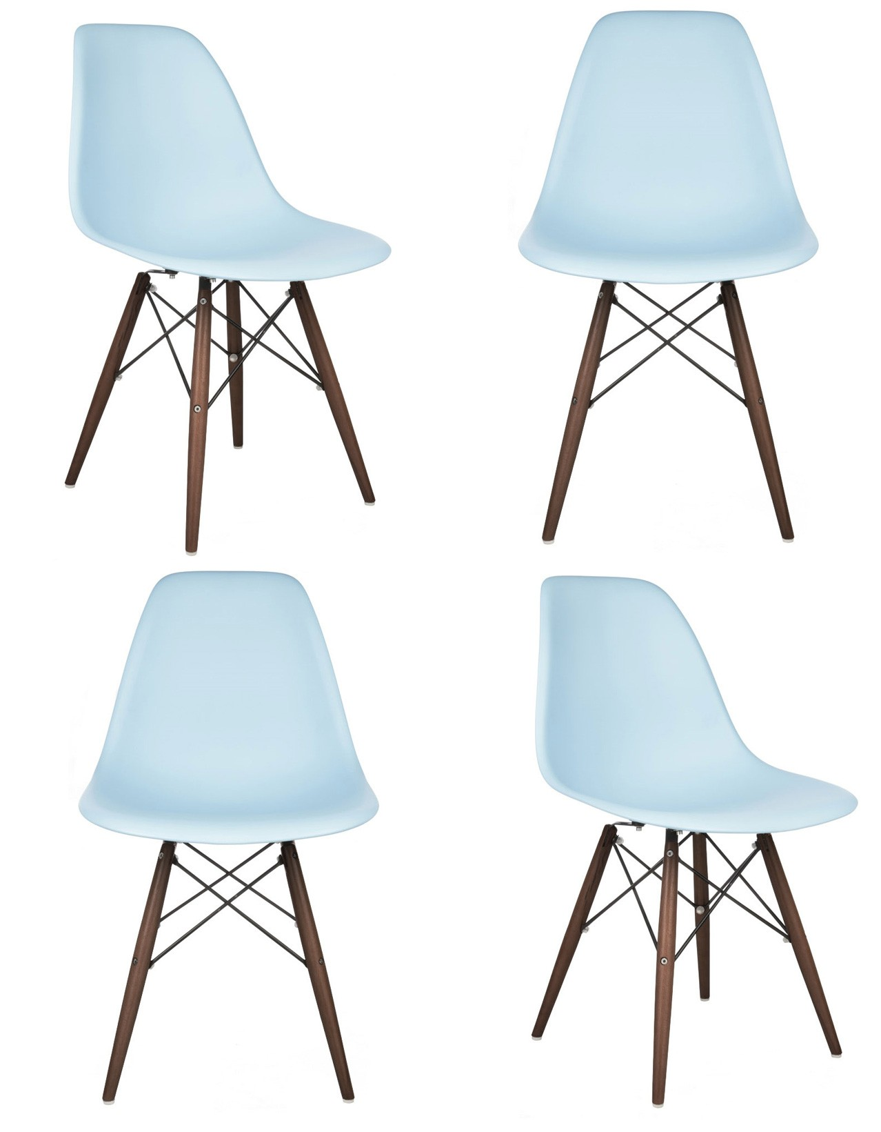 dark walnut dining chairs office chair back massager 4 x eames style dsw shell with