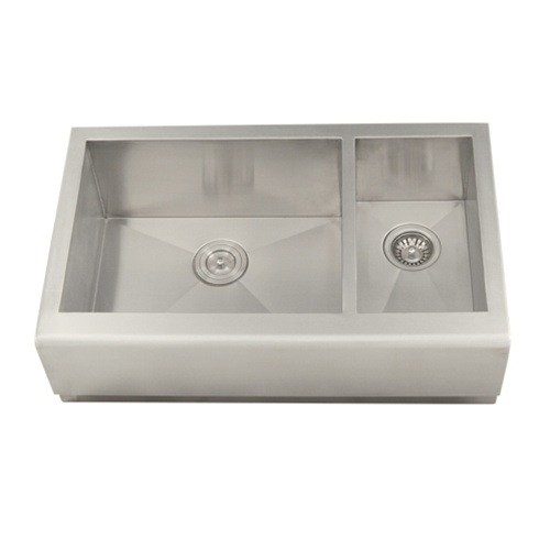 33 Inch Stainless Steel Smooth Flat Front Farmhouse Apron Kitchen Sink Offset Double Bowl