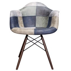 Blue Accent Arm Chair Connected To Desk Mooku And Gray Patchwork Leatherette Fabric Upholstered