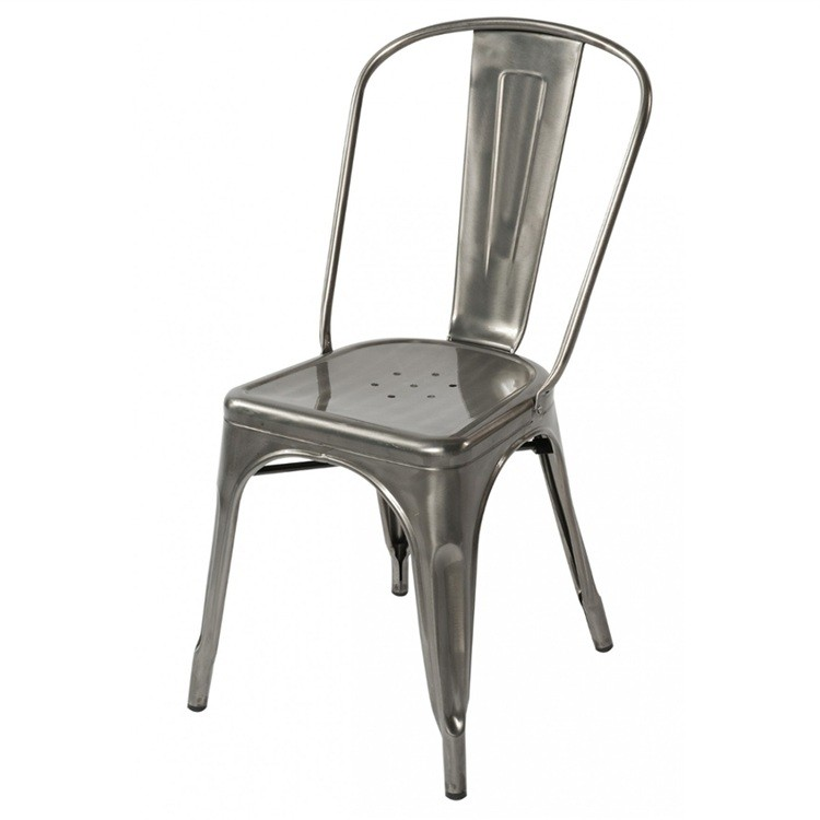 cafe chairs metal rustic kitchen tolix style industrial loft designer chair in gun