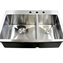 Stainless Steel Kitchen Sinks 33 X 22 Cabinet Pull Out Drawers Inch Top-mount / Drop-in Double Bowl ...
