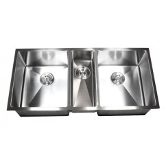 42 Inch Kitchen Sink 4 Hole Faucet 16 Gauge Stainless Steel Undermount Zero Radius Triple Bowl 15mm Design