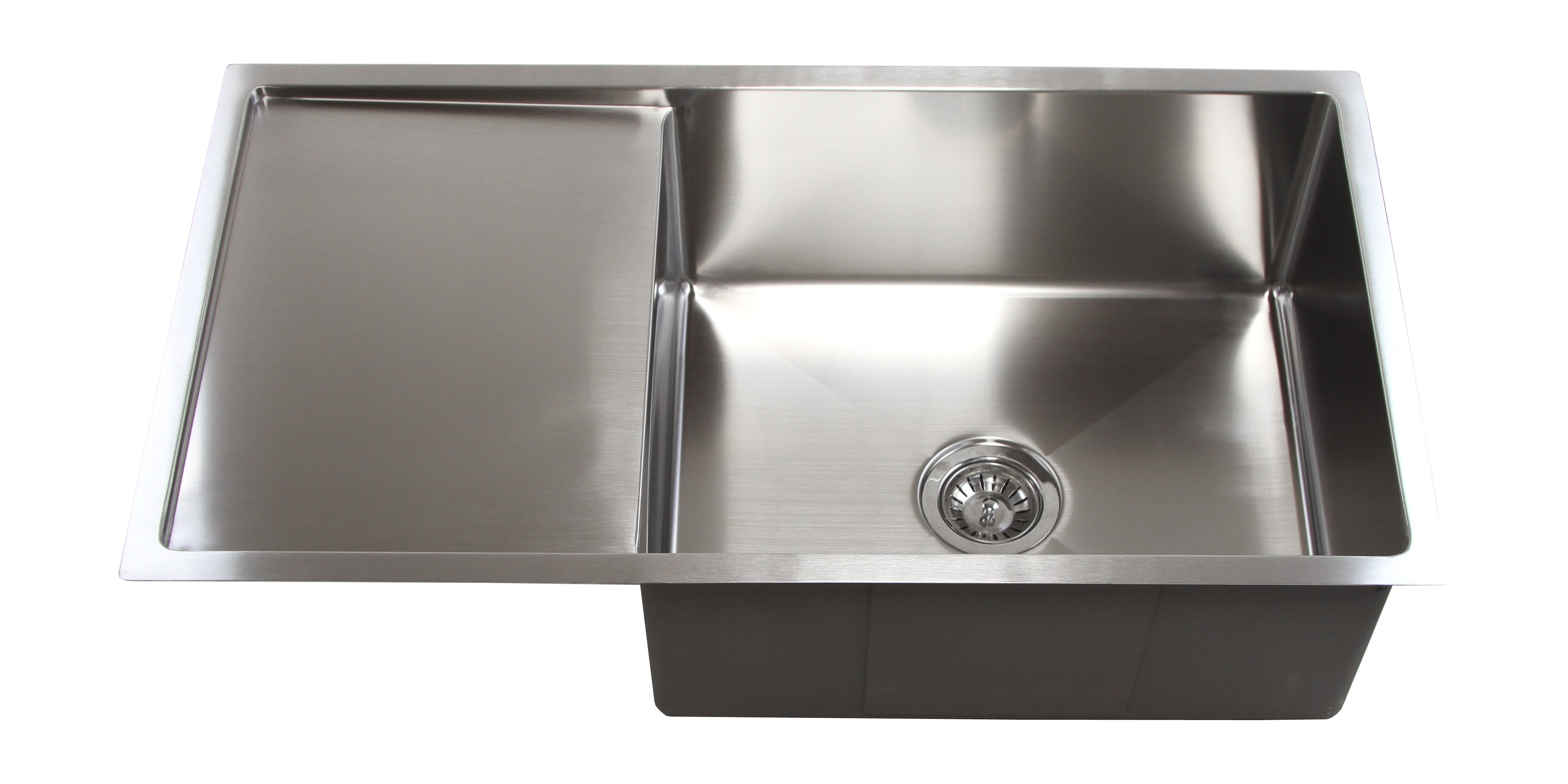 36 inch kitchen sink trash can stainless steel undermount single bowl 15mm radius design with 13 drain board
