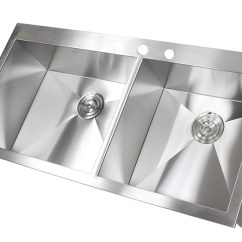 Large Kitchen Sink Dimensions Mixer 43 Inch Top-mount / Drop-in Stainless Steel Double Bowl ...