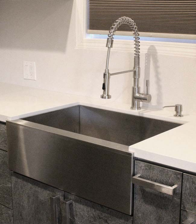 kitchen farm sink counter 33 inch stainless steel flat front farmhouse apron ...