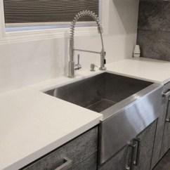 Kitchen Stainless Steel Sinks Carts With Wheels 36 Inch Flat Front Farmhouse Apron ...