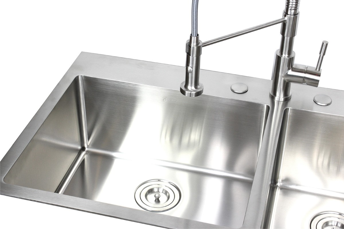 extra large kitchen sinks double bowl cork flooring for 36 inch top mount drop in stainless steel 60 40