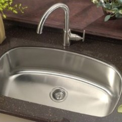 Kitchen Sink Strainer Polished Nickel Faucet 32 Inch Stainless Steel Undermount Curved Single Bowl ...