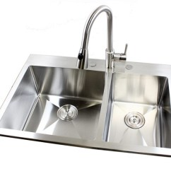 22 Inch Kitchen Sink Black Undermount 33 Top-mount / Drop-in Stainless Steel Double Bowl ...