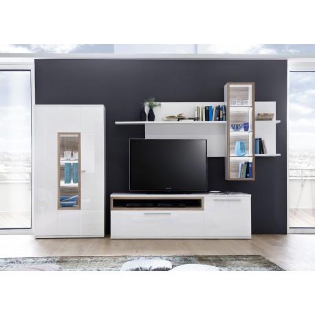 ensemble mural tv blanc et decor chene cbc meubles