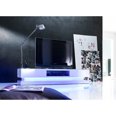 Meuble TV design blanc laqu clairage led RGB  CbcMeubles