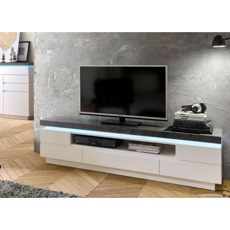 meuble tv design laque blanc mat et effet beton a led cbc meubles