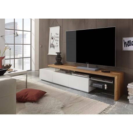 meuble tv design blanc et plateau chene massif cbc meubles