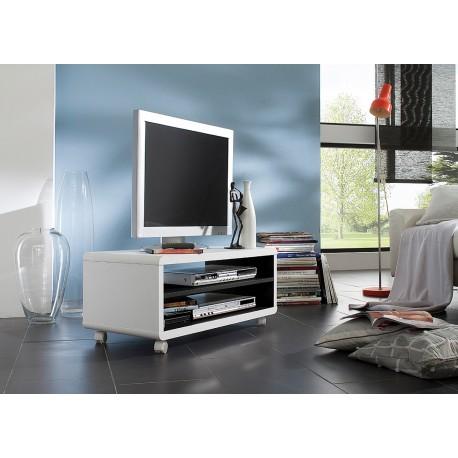 meuble tv blanc et noir sur roulettes pas cher cbc meubles