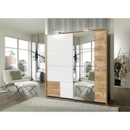 armoire blanche et chene avec miroir 2 portes coulissantes cbc meubles