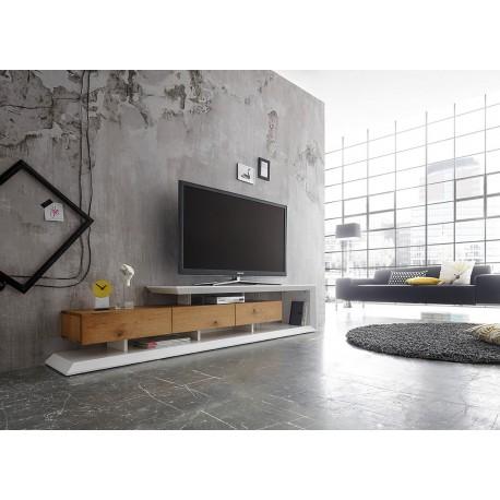 meuble tv moderne laque blanc mat et chene 198 cm cbc meubles