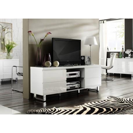 meuble tv blanc laque 4 tiroirs 2 niches