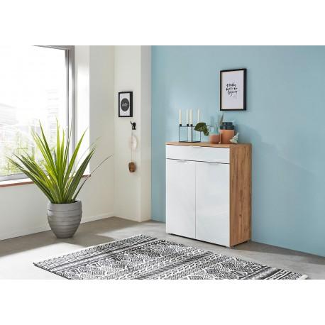 meuble rangement commode bois et blanc facade en verre cbc meubles