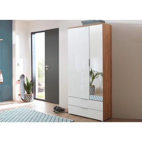 Armoire Rangement Entre Bois Et Verre Blanc Avec Miroir