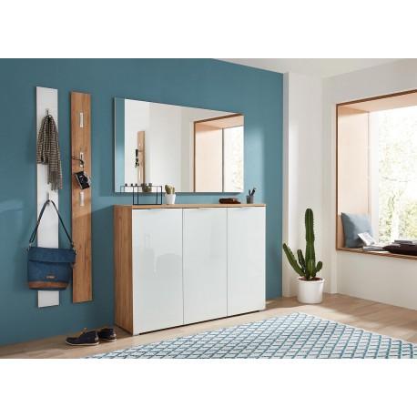 meuble d entree complet pour couloir bois et verre blanc cbc meubles