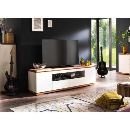 meuble tv blanc laque mat design 2 m cbc meubles