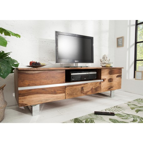 meuble tv bois massif sesham 160 cm cbc meubles