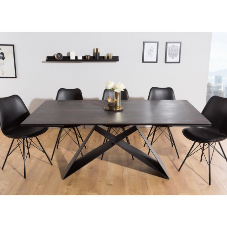 table a manger en ceramique lave 180 260 cm et pieds metal noir cbc meubles