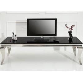 meuble tv baroque verre opale noir et pied en acier poli 160 cm
