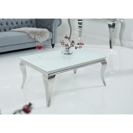 table basse baroque verre opale blanc et pied en acier poli cbc meubles