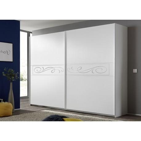 armoire blanche 2 portes coulissantes serigraphiees 2m75 cbc meubles
