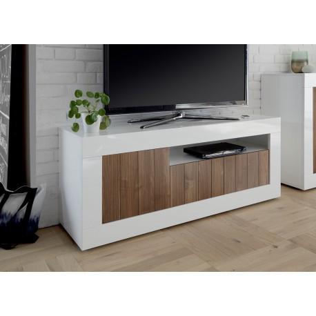 meuble tv blanc laque et noyer 3 portes 138 cm cbc meubles