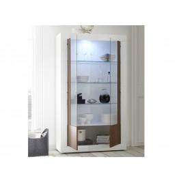 meuble vitrine design blanc laque 2 portes verre et bois noyer