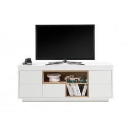 meuble tv design blanc laque mat et bois 169 cm