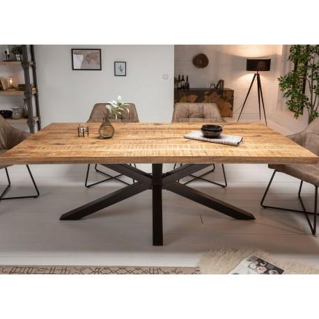 table a manger bois massif manguier metal rectangulaire 1m80 cbc meubles