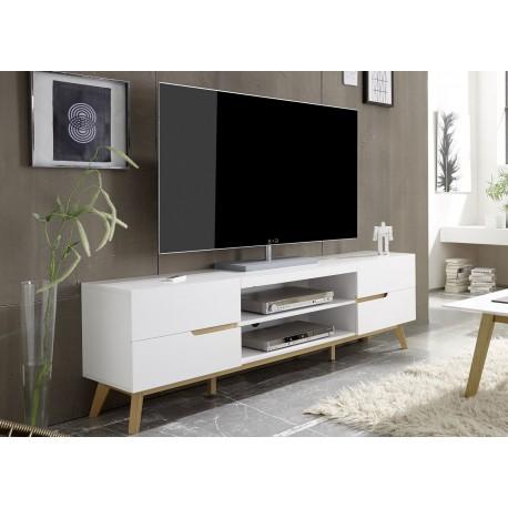 meuble tv blanc et bois 4 tiroirs 169 cm cbc meubles