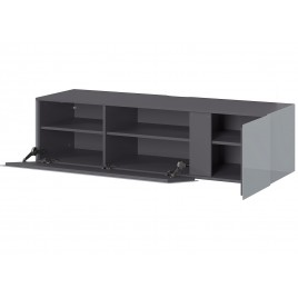meuble tv moderne 140 cm verre gris