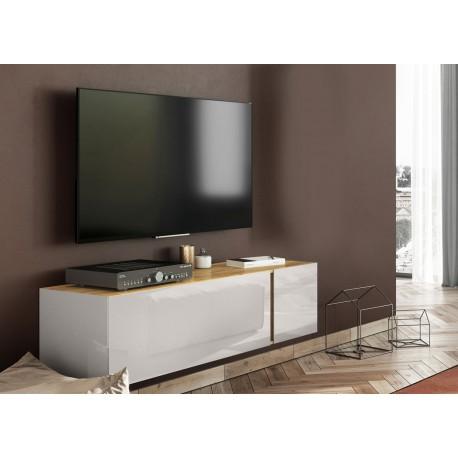 meuble tv moderne 140 cm verre cachemire et chene cbc meubles