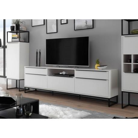 meuble tv design blanc laque mat et metal noir 2m15 cbc meubles