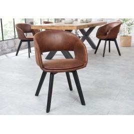 chaise avec accoudoirs marron vintage
