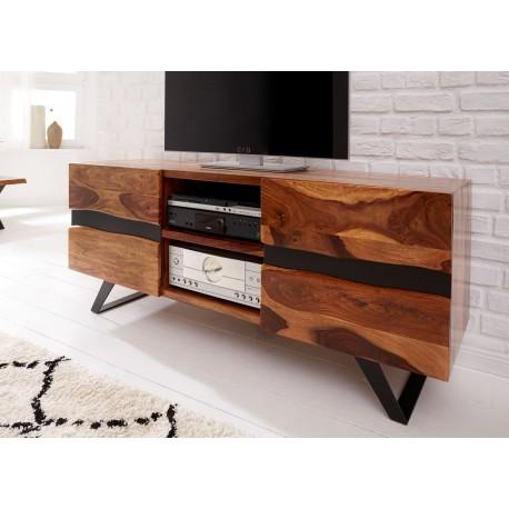 meuble tv bois massif sesham et pieds metal 160 cm cbc meubles