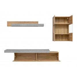 meuble tv design bois et beton 2m50