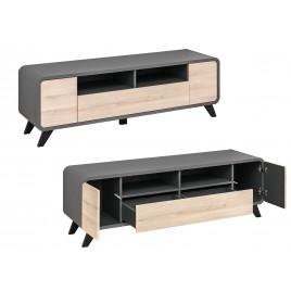 meuble tv scandinave moderne chene et anthracite