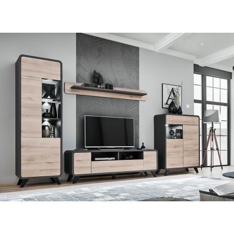 meuble tv scandinave moderne chene et anthracite cbc meubles