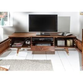 meuble tv bois massif d acacia 2 portes et 1 tiroir 140 cm