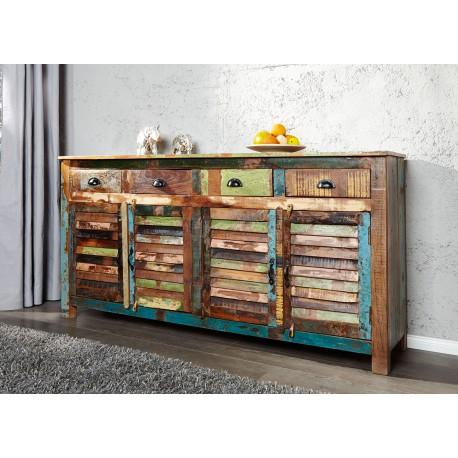 buffet en bois recycle colore 1m60