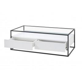 table basse blanche rectangulaire avec plateau en verre