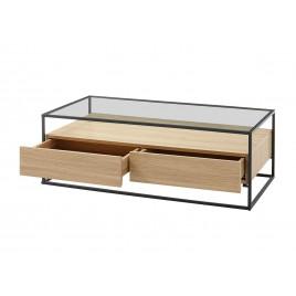 table basse chene clair rectangulaire avec plateau en verre